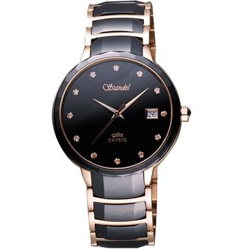 Standel 詩丹麗真鑽時尚陶瓷腕錶(3S2632RDD)-黑/玫塊金