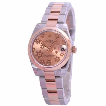 ROLEX 勞力士 178241  蠔式女錶日誌型 新款立體粉紅小花面板 搭配 玫瑰金板帶