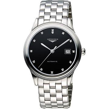 LONGINES Flagship 經典純粹真鑽機械腕錶-黑  L48744576