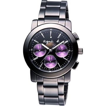 agnes b. 魔幻魅紫三眼計時腕錶(BWY058P1)-IP黑/紫