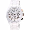 Diadem 黛亞登羅馬三眼計時陶瓷腕錶-白x玫塊金時標2D1407-621RG-W