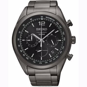 SEIKO 黑色旋風三眼計時男性手錶(SSB093P1)-黑面X黑色/45mm