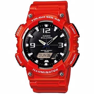 CASIO 環保太陽能數字雙顯設計腕錶-黑x紅-AQ-S810WC-4A