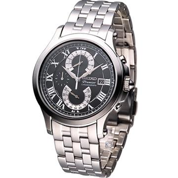 SEIKO Premier系列 雙逆跳計時腕錶(7T85-0AC0D)黑
