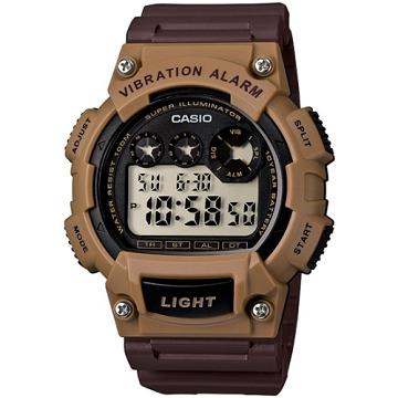 CASIO 靜音振動數位電子腕錶(咖啡錶帶)