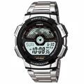 CASIO 世界地圖戶外運動休閒錶-鋼帶款-AE-1100WD-1A