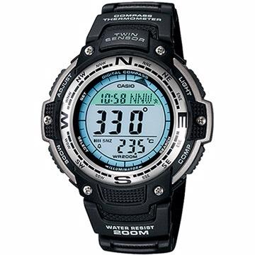 【CASIO 卡西歐】雙重感應器戶外運動錶(黑/47.6mm)