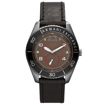 A│X Armani Exchange 科技人性都會運動腕錶(皮帶-深咖啡黑)