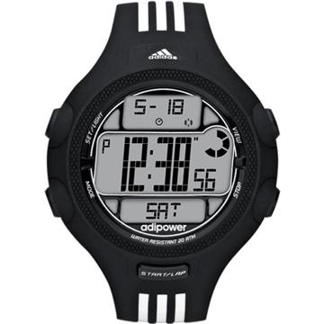 adidas adiPower勁力狙擊大面板電子腕錶(黑/三線白)