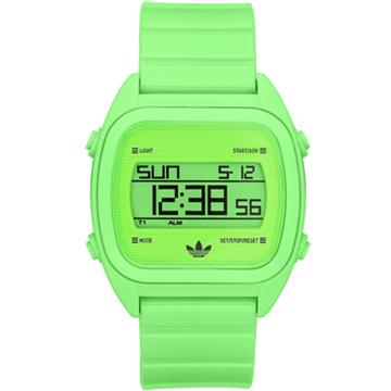adidas 線條創造三葉數位腕錶(螢光綠)