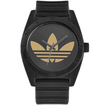 adidas Adicolor 潮流繽紛黑x金橡膠腕表-40mm / ADH2705