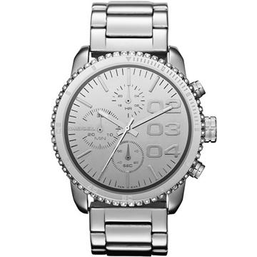 DIESEL 忍者戰將時尚晶鑽計時腕錶(DZ5337)-銀
