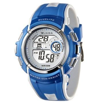 JAGA捷卡M688多功能防水運動電子錶-藍
