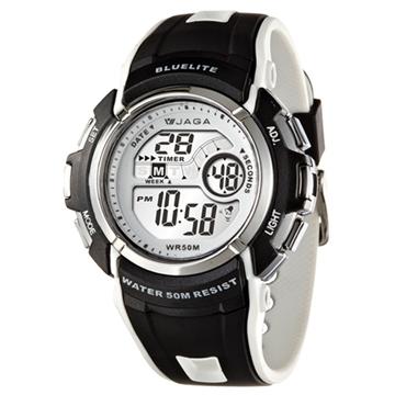 JAGA捷卡M688多功能防水運動電子錶-黑