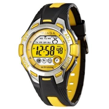 JAGA捷卡M998多功能防水100米運動電子錶-黑黃