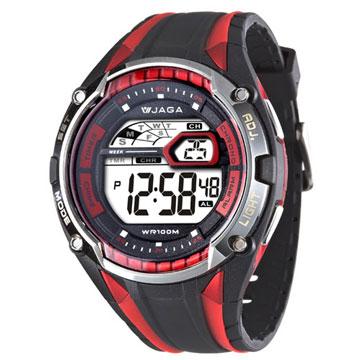 JAGA 捷卡 M980-AG超級戰將多功能電子錶(黑紅)