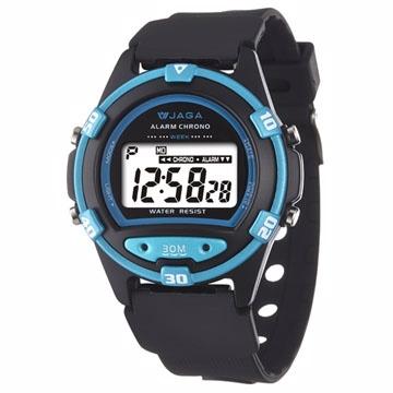 JAGA捷卡 M267防水多功能運動電子錶-黑藍