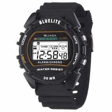 JAGA捷卡 M175防水多功能運動電子錶-黑