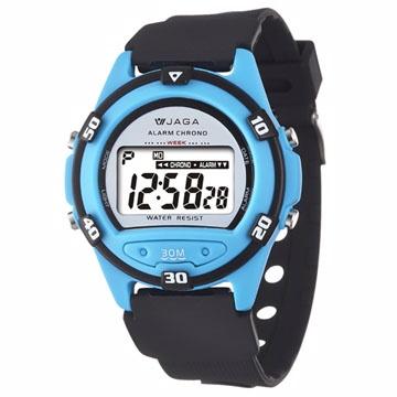 JAGA捷卡 M267防水多功能運動電子錶-黑淺藍