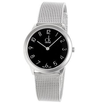 cK minimal 新版經典米蘭帶黑面數字腕表-35mm