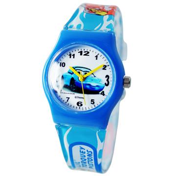 Cars2 世界大賽-閃電麥坤膠錶/卡通錶/兒童錶/中性錶-藍車(中型)