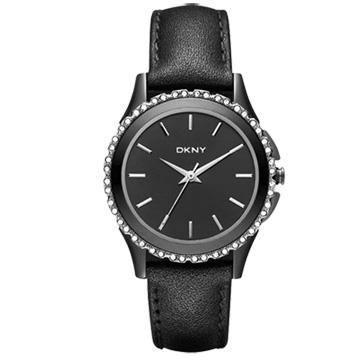 DKNY 絕代魅力晶鑽都會腕錶(黑)