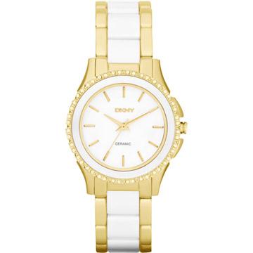 DKNY 絕代魅力陶瓷晶鑽都會腕錶(金)