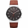 SKAGEN 潮流時尚計時石英腕錶-灰x咖啡SKW6099
