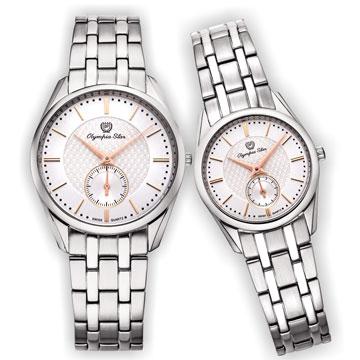 Olympia Star奧林比亞之星經典都會系列情人對錶-品味白