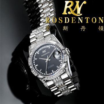 ROSDENTON 勞斯丹頓 97627 榮耀總裁晶鑽腕錶 機械錶 銀 37mm @時代
