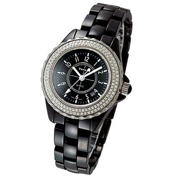 Vaness 低調奢華晶鑽陶瓷錶(黑-小)