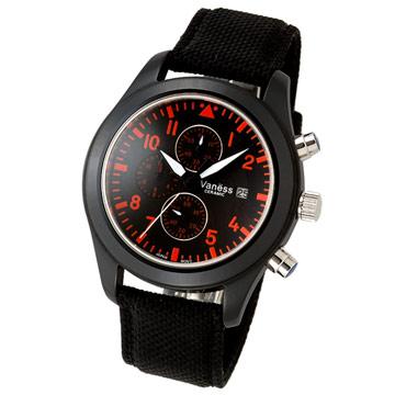 Vaness 視覺時尚運動陶瓷錶(黑)