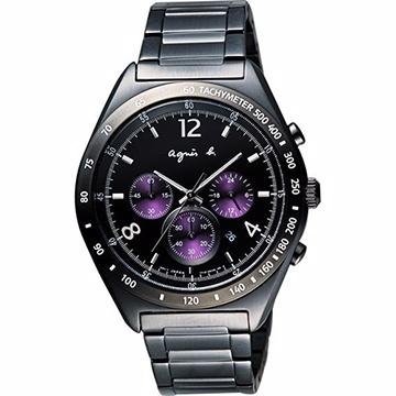 agnes b. 宇宙星馳視距儀計時腕錶-IP黑x紫 BW8004P1
