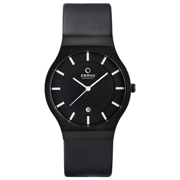 OBAKU 極簡時代優雅時尚腕錶(全黑/皮帶/大)