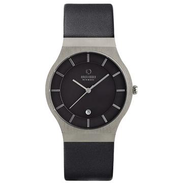 OBAKU 極簡時代優雅時尚腕錶(黑/皮帶/大)