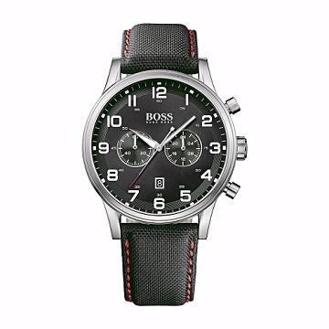 Hugo Boss 時尚運動風計時功能男腕錶/黑面黑皮/44mm (1512919)
