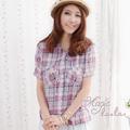 【Magic la.la.】A49 微氧女孩 連帽抽繩格紋襯衫(共二色)