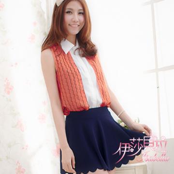 【伊莎貝拉】A18  俐落韓風 波紋撞色襯衫背心(亮麗橘)