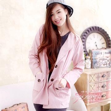 【伊莎貝拉】 雙口袋連帽開釦外套(溫柔粉)A415