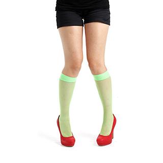 『摩達客』英國進口義大利製【Pamela Mann】螢光綠細格紋及膝高筒襪