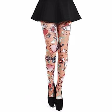 『摩達客』英國進口義大利製【Pamela Mann】愛心塗鴉圖紋網襪絲襪彈性褲襪