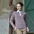 Fabrizio法比奇【My Confidence 。自信】非。正式 襯衫領雙色條紋長袖polo衫 - 桑椹紫
