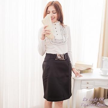 【EE-LADY】不可拆扣環厚舖及膝裙-黑