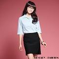 【EE-LADY】直條紋開襟五分袖襯衫-藍色