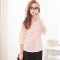 【EE-LADY】直條紋開襟五分袖襯衫-橘色