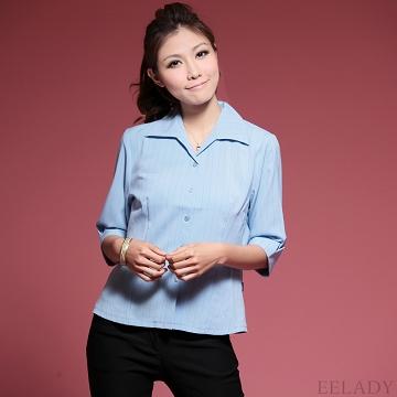 【EE-LADY】直條紋開襟五分袖襯衫-深藍色