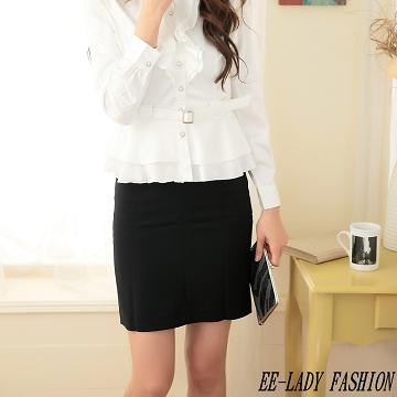 【EE-LADY】簡約素面黑色A字裙