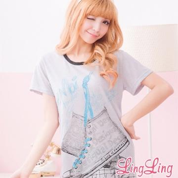 lingling A1546-02全尺碼-輕鬆舒適高筒球鞋圖案T恤連身睡衣(休閒黑)