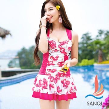 【SANQI三奇】花漾俏皮 一件式連身泳衣(玫紅)