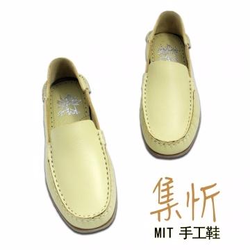 素雅風格【集忻t.star‧MIT台灣手工鞋】造型接縫 舒適防滑 豆豆鞋 帆船鞋 休閒鞋『黃色』SGO-323P